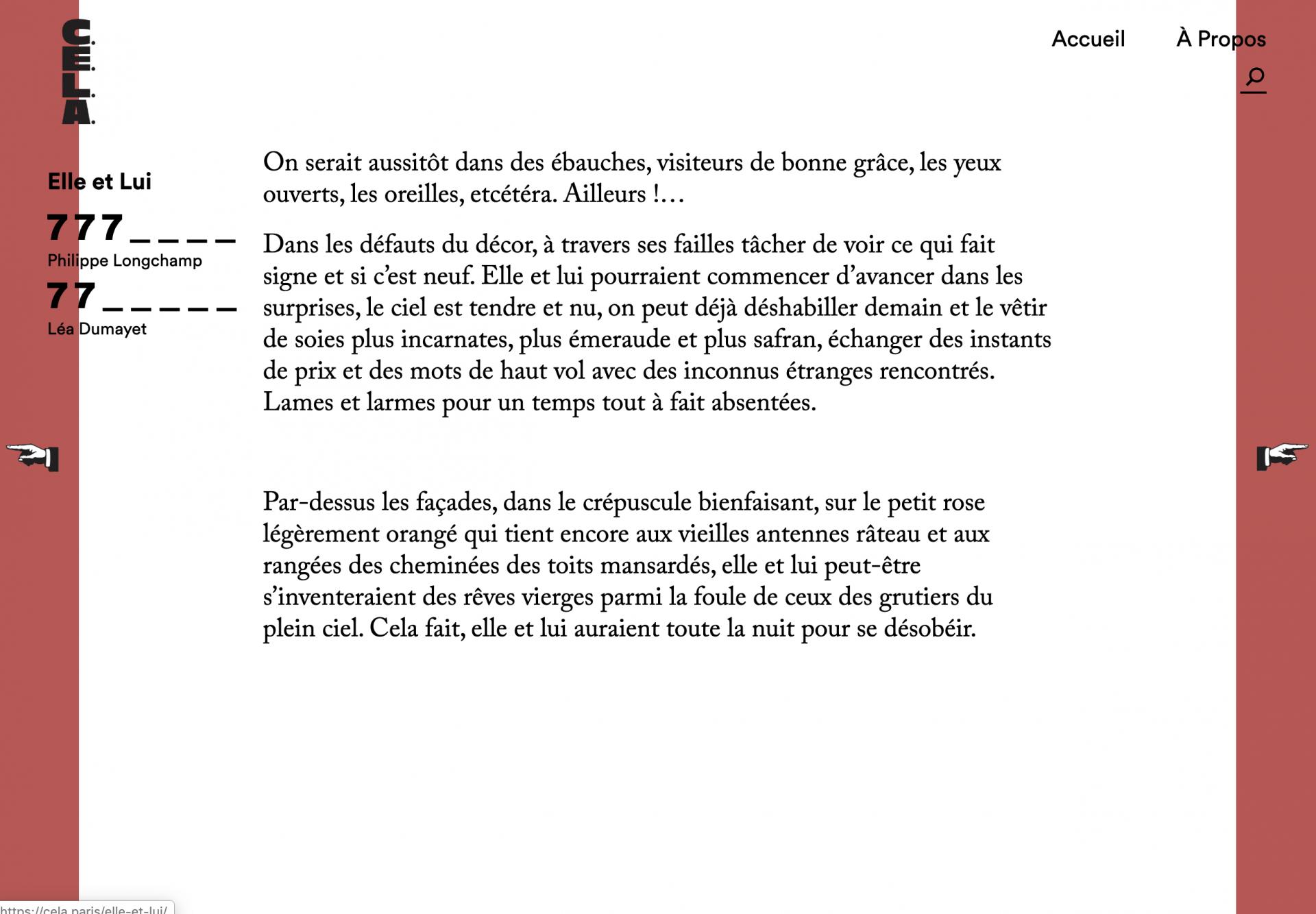 Léa Dumayet Cadavres Exquis Littéraire et Artistique, Elle et lui, avec Philippe Longchamps